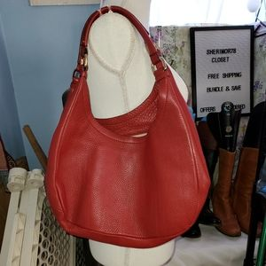 COLE HAAN XL RED LEATHER VILLAGE HOBO